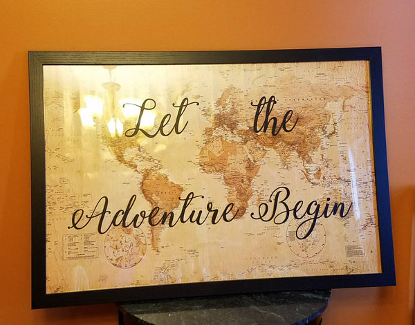 Let the adventure begin antique world map in 24 by 36 inch black let the adventure begin antique world map in 24 by 36 inch black frame for travel gumiabroncs Images