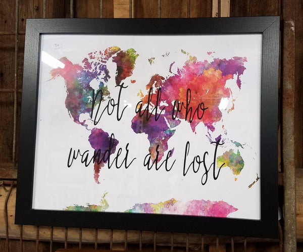 Not all who wander are lost 20 x 16 inch sign with watercolor world not all who wander are lost 20 x 16 inch sign with watercolor world map gumiabroncs Images