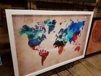 24 x 36 large Watercolor World Map with famous quotes / Wedding / Graduation / Christmas / Housewarming gift