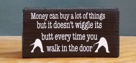 Money can buy a lot of things but it doesn't wiggle its butt every time you walk in the room - for dog lovers