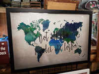24 x 36 Blue and turquoise Watercolor World Map with famous quote / Wedding /Graduation / Housewarming / Christmas gift for travellers