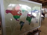 24 x 36 large Orange, Green and Blue Watercolor World Map with famous quote / wedding / graduation / housewarming / Christmas