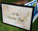 Let the Adventure Begin With vintage 1896 US Map 24 x 36 / Wedding, graduation or Christmas gift for travellers
