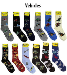 Vehicles Foozys Mens Crew Socks