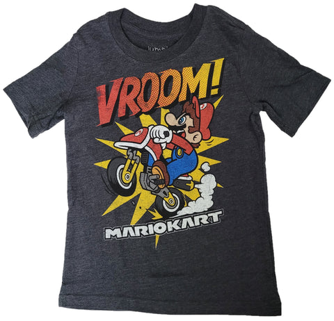 Super Mario Kart Bros. Vroom! Motorcycle Boys T-Shirt (Grey)