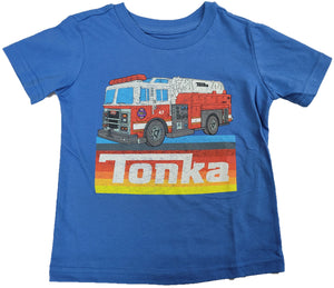 Tonka FireFighter Fire Truck Boys T-Shirt (Blue)