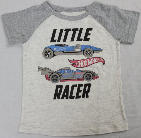 Hot Wheels Little Racer Car Hot Rod Boys T-Shirt (White)
