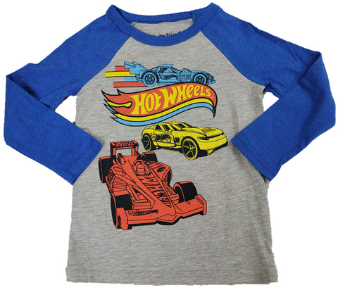 Hot Wheels Yellow Red Blue Race Car Boys Long Sleeve T-Shirt