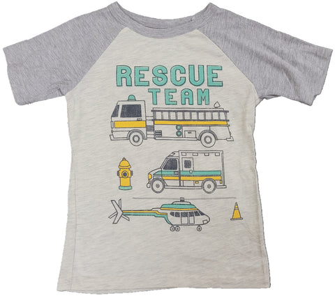 Rescue Team Fire Truck Helicopter Ambulance Boys T-Shirt