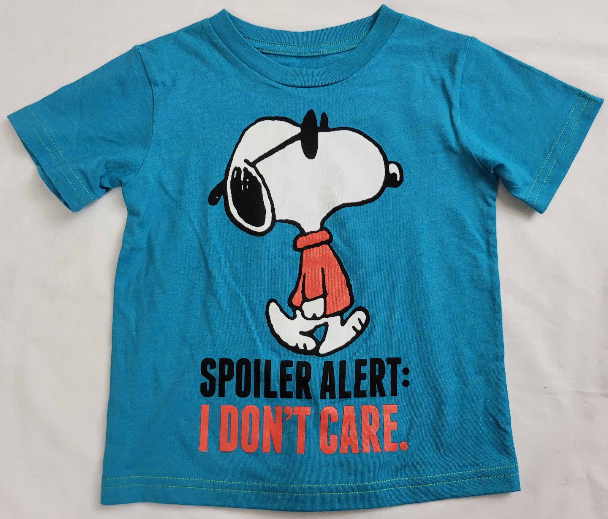 Snoopy Dog Spoiler Alert I Don't Care Peanuts Boys T-Shirt (Teal)