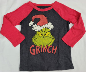 Grinch Dr. Seuss Cat in The Hat Boys T-Shirt (Grey) 2T 3T 5T Toddler