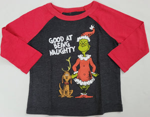 Good at Being Naughty Grinch Max Dr. Seuss Boys T-Shirt 12M 18M 24M