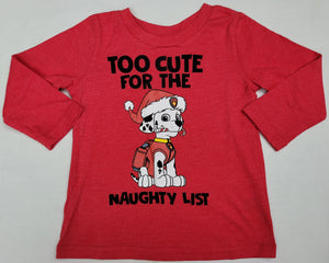Paw Patrol Too Cute For the Naughty List Boys T-Shirt 18M 24M Christmas