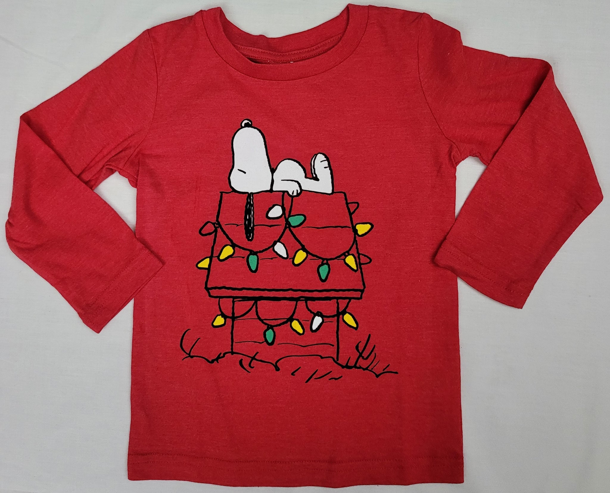 Dog House Christmas Lights Snoopy Peanuts Boys T-Shirt (Red)