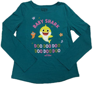 Baby Shark Doo Doo Pinkfong Baby Shark Walt Disney Girls Long Sleeve T-Shirt