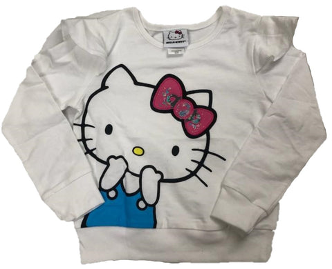 Hello Kitty with Ruffled Shoulders Girls Long Sleeve T-Shirt