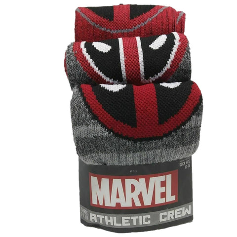Marvel Comics Deadpool Athletic Crew Socks 3 pack Mens