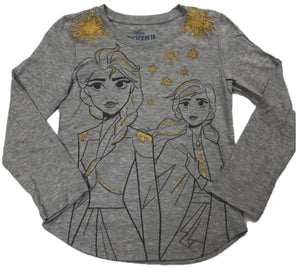 Frozen 2 Anna & Elsa Gold Glitter Walt Disney Girls Long Sleeve T-Shirt