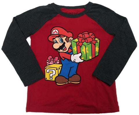 Super Mario Gift Wrapped Mystery Cube Boys Long Sleeve T-Shirt