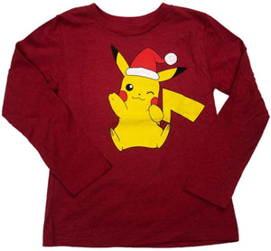 Pikachu Pokemon Santa Hat Boys Long Sleeve T-Shirt