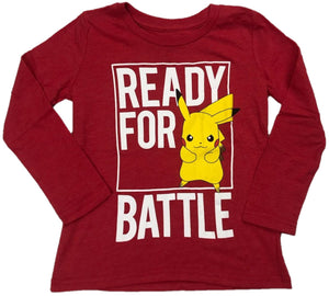 Pikachu Ready For Battle Pokemon Boys Long Sleeve T-Shirt (Red)