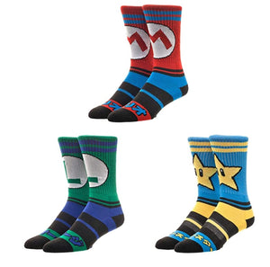 Bioworld Super Mario Nintendo Athletic Crew Socks (Pack of 3)