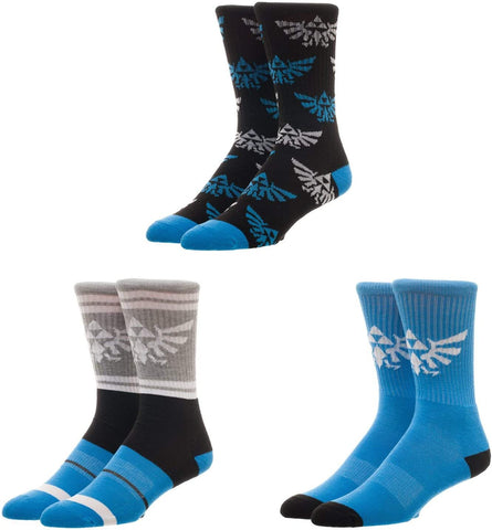Bioworld Nintendo The Legend of Zelda Athletic Crew Socks (Pack of 3)
