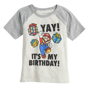 Mario Yay It's My Birthday Mystery Boxes Presents Boys T-Shirt