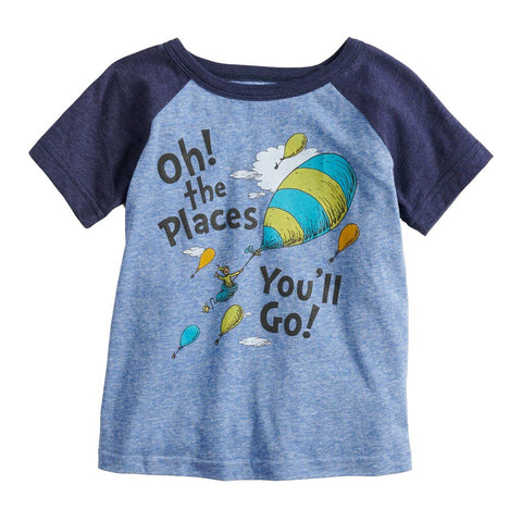 Dr. Seuss Oh! The Places You'll Go! Hot Air Balloons Boys T-Shirt (Blue)
