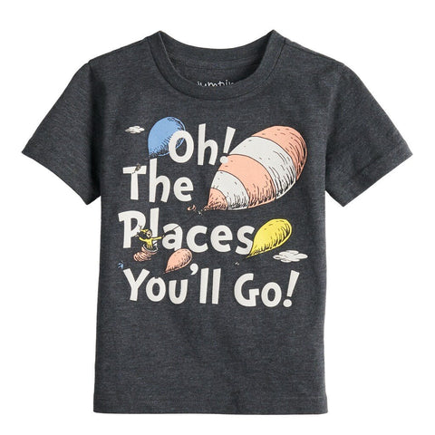 Dr. Seuss Oh! The Places You'll Go! 2T 3T 4T 5T Boys T-Shirt (Grey)