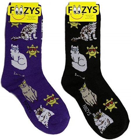 Sun & Cats with Sunglasses Foozys Womens Crew Socks