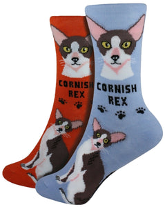 Cornish Rex Foozys Feline Cat Crew Socks