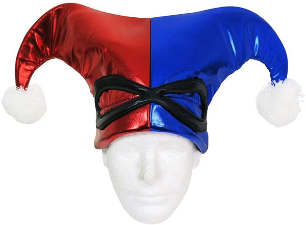 DC COMICS HARLEY QUINN SUIT UP LAMÉ JESTER ADULT COSTUME HAT