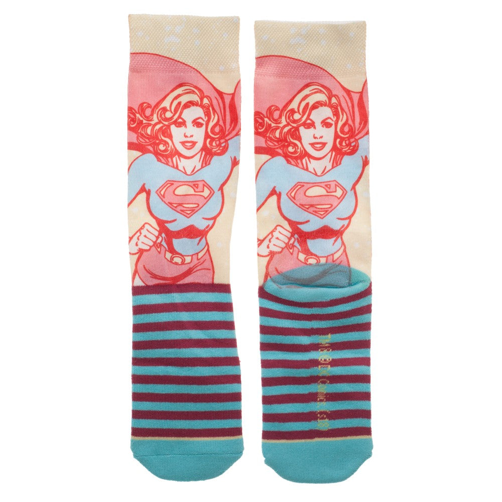 DC Comics Supergirl Faded Neon Crew Socks