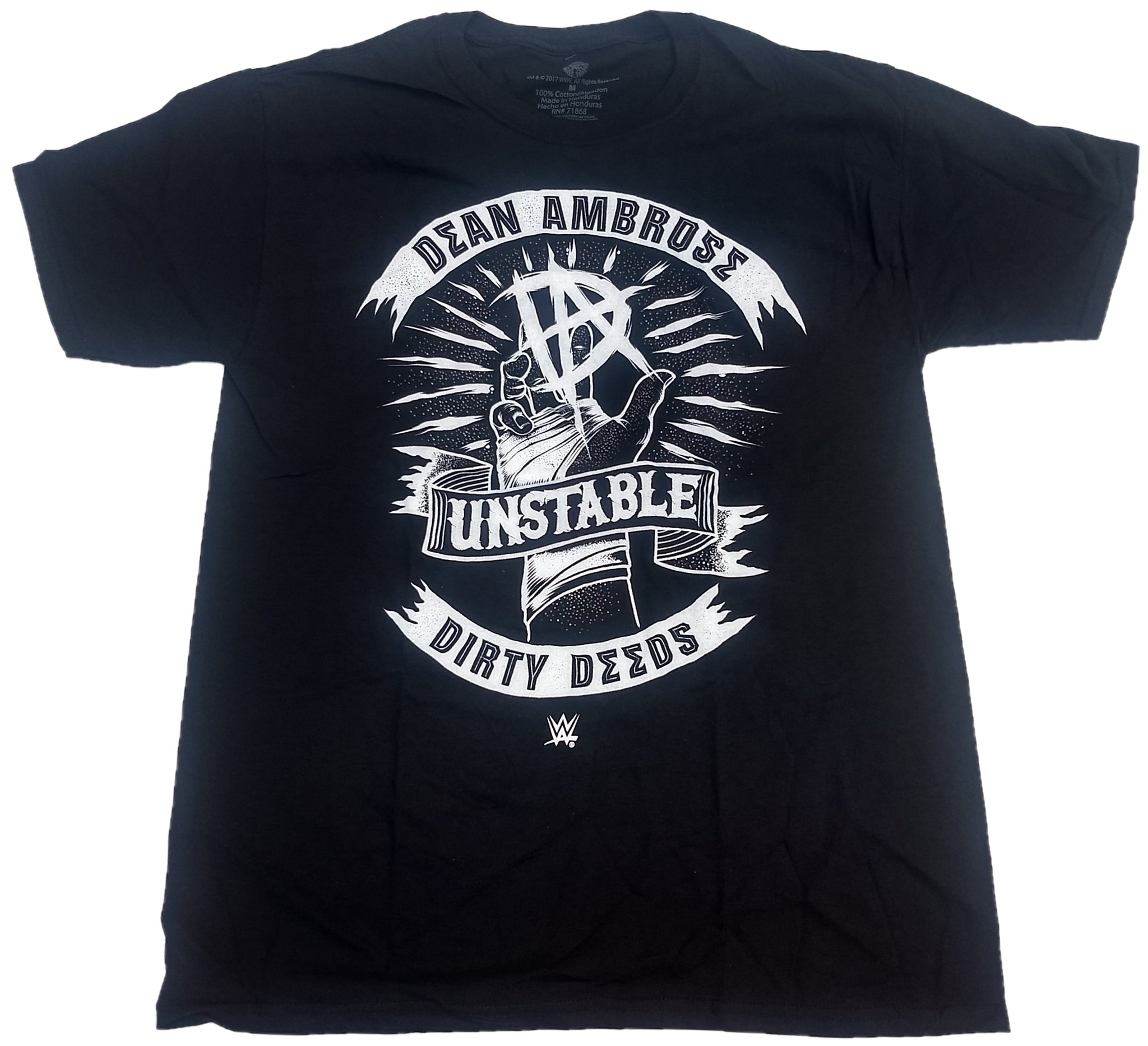 Dean Ambrose Unstable Dirty Deeds WWE Wrestling Mens T-Shirt (Black)