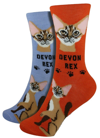 Devon Rex Foozys Feline Cat Crew Socks