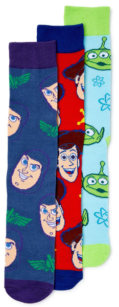 Disney Toy Story Woody Buzz Lightyear Alien 3 Pair Pack Men's Crew Socks