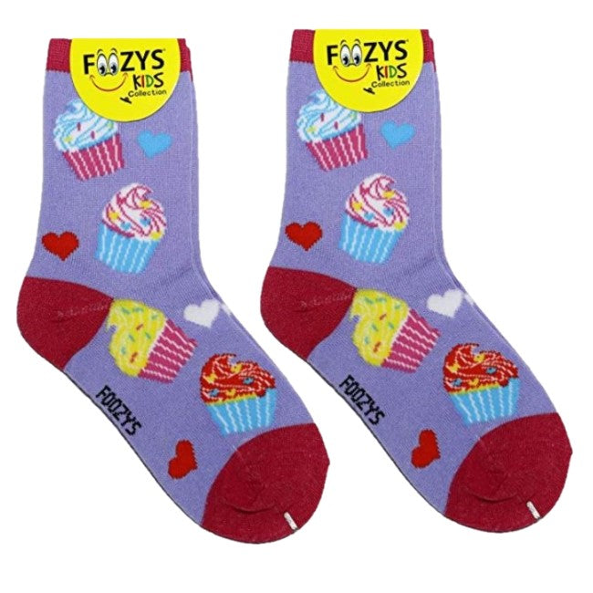 Cupcakes Foozys Girls Kids Crew Socks