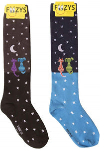 Starry Night Gazing Cat & Dog Foozys Knee High Socks