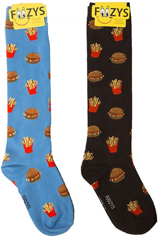 Hamburger & Fries Foozys Knee High Socks