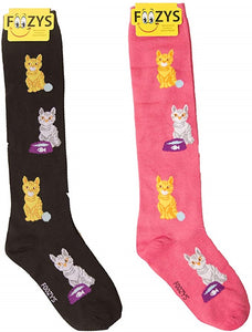 Cat & Yarn Ball Foozys Knee High Socks