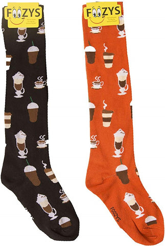 Coffee Time Expresso Cappuccino Latte Foozys Knee High Socks