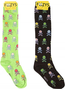 Colorful Skulls & Cross Bones Foozys Knee High Socks