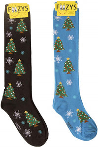 Christmas Trees & Snowflakes Foozys Knee High Socks
