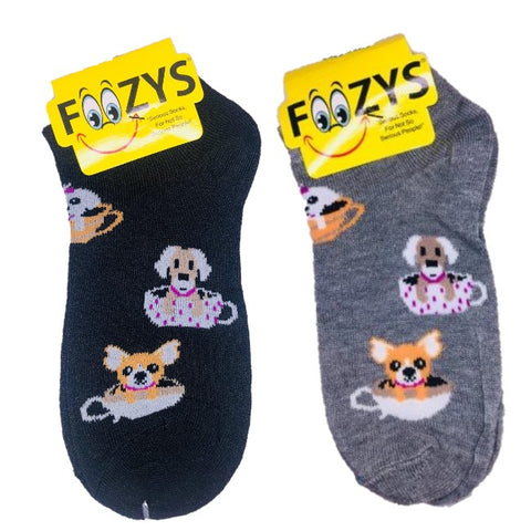 Tea Cup Dogs Foozys Ankle No Show Socks