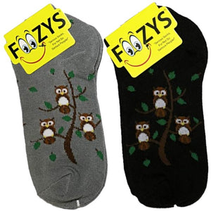 Owl Family Tree Foozys Ankle No Show Socks