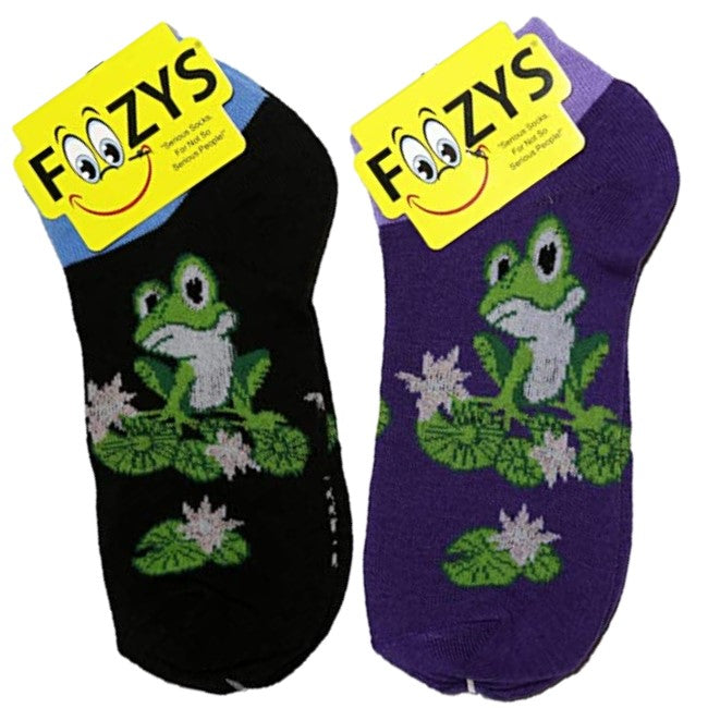 Frog On Lily Pad Foozys Ankle No Show Socks