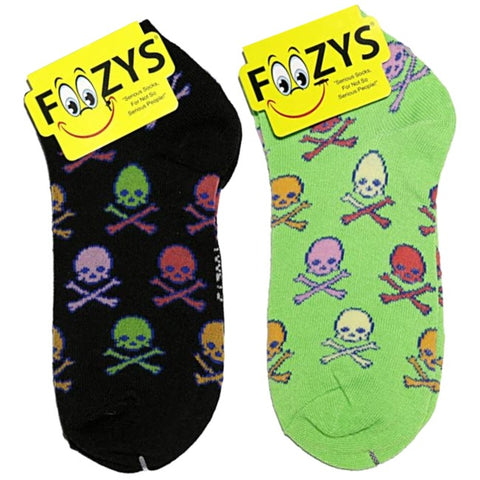 Colorful Skull & Crossbones Foozys Ankle No Show Socks