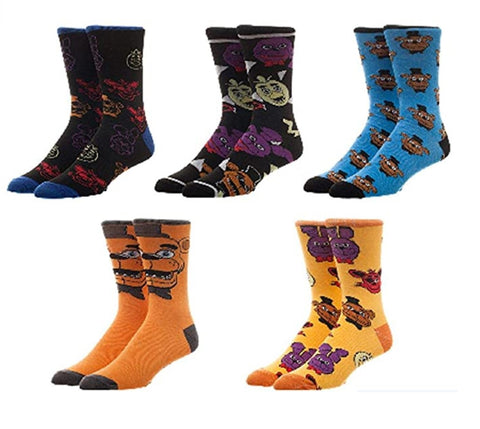 BioWorld Five Nights at Freddy's 5 Pair Pack Casual Crew Socks