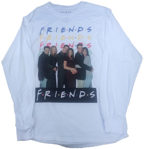 Friends Cast Photo Long Sleeve White T-Shirt